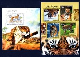 Togo, 2013 & 2014- Cheetah And Tiger. Two Blocks MintNH. - Félins