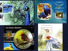 Togo,Birds-Uccelli. Four Blocks Issued  2013, 2014, 2015. Stamps MintNH. - Paons
