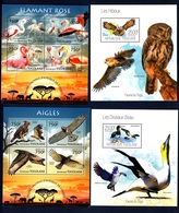 Togo,Birds-Uccelli. Four Blocks Issued  2013, 2014, 2015. Stamps MintNH. - Aigles & Rapaces Diurnes