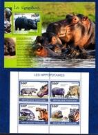Togo,Hoppopotamus, Ippopotamo. Two Blocks Issued  2010, 2014. Stamps MintNH. - Timbres