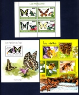 Togo,Insects-Insettii. Three Blocks 2010, 2013, 2014. Stamps MintNH. - Papillons