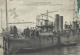 """06 VILLEFRANCHE SUR MER  Le Nouveau Contre-Torpilleur """"CARABINIER"""" Du Type 4 Cheminées CPA BE Rare - War 1914-18"""