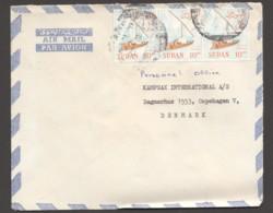 1982 Air Letter To Denmark  - Sailboat 10pt X3 - Sudan (1954-...)