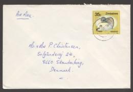 1989  Air Letter To Denmark - Knob Billed Duck - Zimbabwe (1980-...)