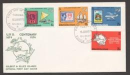 1974  Gilbert & Ellice Islands  UPU Centenary Completee Set On Unaddressed FDC - Tuvalu