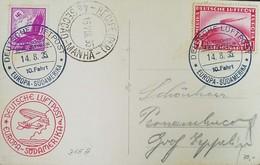 O) 1935 GERMANY, GRAF ZEPPELIN CROSSING OCEAN SCT C35 1m, SWASTIKA SUN -GLOBE AND EAGLE SCT C51 40pf, DEUTSCHE LUFTPOST - Allemagne