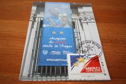 "CPM Carte Maximum  CM ""Merci Les Bleus"" Coupe Du Monde 2018 Russie Paris Djibril Sidibé Fronton Mairie 'Made In Troyes"" - Football"