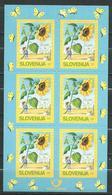 SLOVENIA 2005 6 X Greeting Stamp - Sunflower, Self-Adhesive. M/S. MNH - 2 Scans - Slovénie
