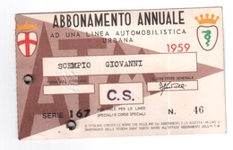 TESSERA RICOSCIMENTO ABBONAMENTO MILAN MILANO BUS TRAM 1959 CON FOTO MILITARE - Abbonamenti
