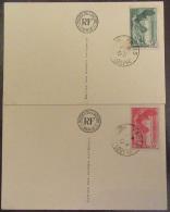 France - Série Victoire De Samothrace 30c Et 55c YT N°354 Et 355 Ob. Sur 2 Cartes Postales Musée Du Louvre - 1937 - France