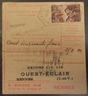 """France - Timbre """"Mineurs"""" Surcharge 1f Sur 2f15 YT N°489 Sur Mandat-carte Pierric Loire Inférieure - Cachet 1941 - Lettres & Documents"""