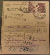 """France - Timbre """"Mineurs"""" Surcharge 1f Sur 2f15 YT N°489 Sur Mandat-carte Paimboeuf Loire Inférieure - Cachet 1941 - France"""