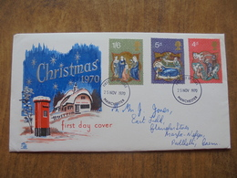 S026: FDC: CHRISTMAS 1970. 4d, 5d, 1/6d.  First Day Of Issue 25 NOV 1970 Manchester, - FDC