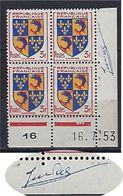 """FR Coins Datés  YT 954 """" Armoiries Du Dauphiné """" Neuf** Du 16.7.53 Signé Du Graveur - 1950-1959"""