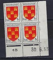 "FR Coins Datés  YT 952 "" Armoiries Du Poitou "" Neuf** Du 30.6.53 - 1950-1959"