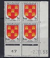 "FR Coins Datés  YT 952 "" Armoiries Du Poitou "" Neuf** Du 2.11.53 - 1950-1959"