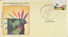 India  2014  Saffron Deer   Birds  Himalayan Monal   Wildlife Week  Special Cover #  14274  D Inde Indien - Songbirds & Tree Dwellers