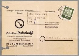 BRD, MiNr. 350 X Auf Portoger. Karte Von Beckum Nach Duderstadt; B-2146 - Lettres & Documents