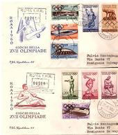 2 Fdc Capitolium: OLIMPIADI (1960) Raccomandate  A_Roma EUR - F.D.C.