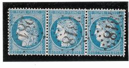 TIMBRES N° 60/1 ; BANDE DE TROIS  48/49/50   B2 ,  TRÉS RARE ; GC 2818 (PERPIGNAN)   BIEN CENTRÉS  TTB - 1871-1875 Cérès