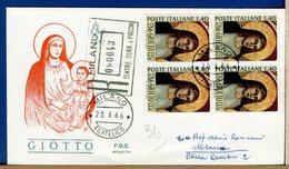 ITALIA - FDC 1966 -  QUARTINA - GIOTTO  -  Raccomandata - F.D.C.