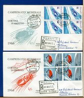 ITALIA - FDC 1966 -  QUARTINA - CAMPIONATO MONDIALE BOB  -  Raccomandate Con Timbro Di Arrivo - 6. 1946-.. Repubblica