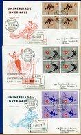 ITALIA - FDC 1966 -  QUARTINA - UNIVERSIADE INVERNALE  -  Raccomandate Con Timbro Di Arrivo - 6. 1946-.. Repubblica