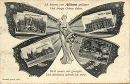 ALTONA, Schmetterling Mehrbild, Bahnhof, Stuhlmann-Brunnen, Rathaus (1905) AK - Altona
