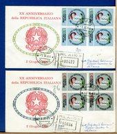 ITALIA - FDC 1966 -  QUARTINA - ANNIVERSARIO REPUBBLICA ITALIANA  -  Raccomandate Con Timbro Di Arrivo - 1946-.. République