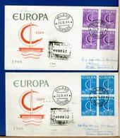 ITALIA - FDC 1966 -  QUARTINA - EUROPA  -  Raccomandate - F.D.C.
