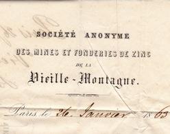 Lettre Paris 1863 Napoléon III 20 Centimes Bordeaux Gironde Mines Et Fonderies De Zinc De La Vieille Montagne - 1862 Napoléon III