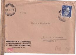 ALLEMAGNE 1943 LETTRE CENSUREE DE ST.GEORGEN POUR BERNE - Deutschland