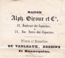 Lettre Paris 1860 Napoléon III 20 Centimes Lyon Alphonse Giroux Boulevard Des Capucines Tableaux Dessins Papeterie Fine - 1853-1860 Napoleon III