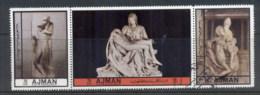 Ajman 1972 Mi#2448-2450 Sculptures By Michaelangelo CTO - Ajman