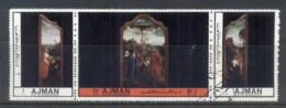 Ajman 1972 Mi#2466-2468 Paintings Of The Crucifixion CTO - Ajman