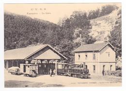 CPM TRAIN Zug VOIR DOS 38 Fourvoirie La Gare Locomotive Vapeur Et Wagons St Laurent Du Pont - Saint-Laurent-du-Pont