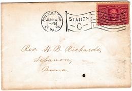 Lettre Philadelphia  Pennsylvania USA 1904 Lebanon 2 Cents Thomas Jefferson Stamp - Vereinigte Staaten
