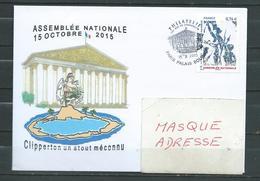 CLIPPERTON / ASSEMBLEE NATIONALE - PJ Du Timbre  - PALAIS BOURBON 15/10/15 - Marcophilie (Lettres)