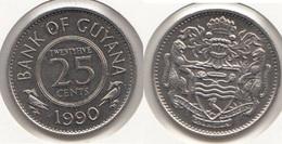 Guyana 25 Cents 1990 Km#34 - Used - Guyana