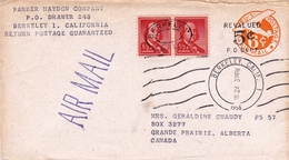 Lettre Berkeley California USA 1956 Grande Prairie Canada Parker Haydon Company US Postage Air Mail Revalued 5 Cents - Posta Aerea