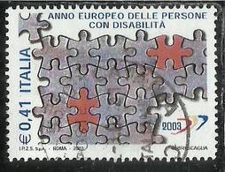 ITALIA REPUBBLICA ITALY REPUBLIC 2003 ANNO EUROPEO PERSONE CON DISABILITA' USATO USED OBLITERE' - 6. 1946-.. Repubblica