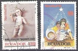 Ecuador 1992 Michel 2222 - 2223 O Cote (2005) 1.50 Euro Noël Cachet Rond - Equateur