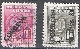 Ecuador 1950 Michel 751 - 752 O Cote (2005) 0.60 Euro Armoirie Cachet Rond - Equateur