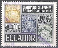 Ecuador 1965 Michel 1189 O Cote (2005) 0.30 Euro 100 Ans Timbres D'Ecuador Cachet Rond - Equateur