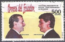 Ecuador 1991 Michel 2200 O Cote (2005) 1.00 Euro Présidents Jaime Paz Zamora / Rodrigo Borja Cevallos Cachet Rond - Ecuador