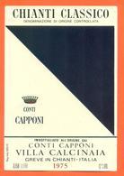 étiquette Vin Italie Vino Italiano Chianti Classico1975 Conti Capponi Villa Calcinaia- 75 Cl - Etiketten