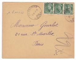 Lettre La Machine 1942 Nièvre Bande De 3 Timbres Mercure - 1938-42 Mercure