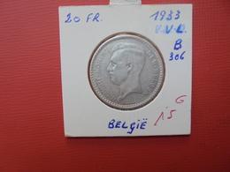 Albert 1er. 20 FRANCS 1933 VL ARGENT.POS:B  QUALITE:VOIR PHOTOS - 1909-1934: Albert I