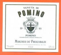 étiquette Vin Italie Vino Italiano Tenuta Di Pomino 1993 Marchesi De Frescobaldi - 75 Cl - Etiketten