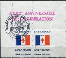 """FRANCE THEME DE GAULLE VIGNETTE """" LA FRANCE AVEC NOUS (GENERAL DE GAULLE) """" EN PAIRE AVEC OBLITERATION.. - De Gaulle (General)"""